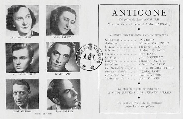 Programme pièce de théâtre Antigone