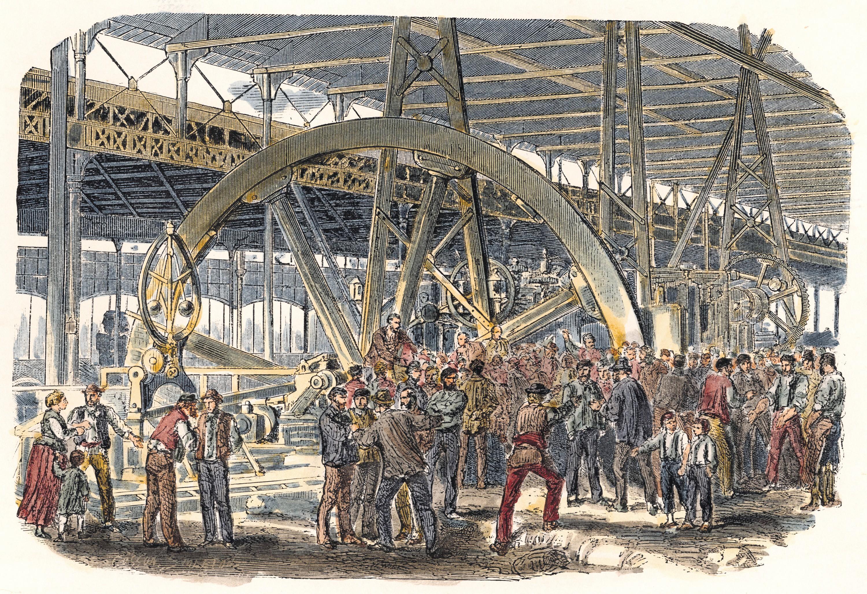 Anonyme, Grève des ouvriers du Creusot, 1870, gravure sur bois (coloriée plus tard).