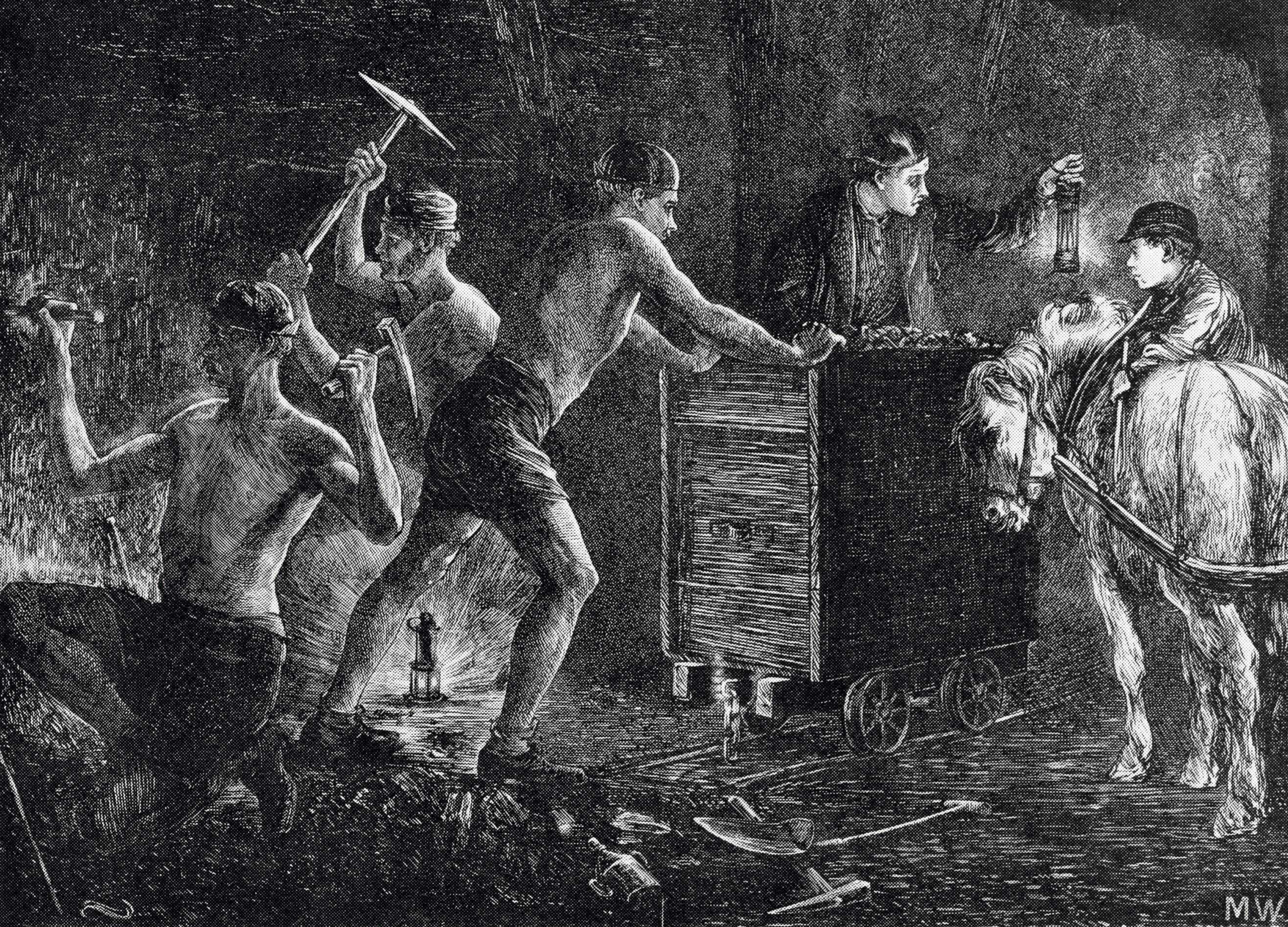 Anonyme, Mineurs de charbon, 1871, dessin paru dans The Graphic.