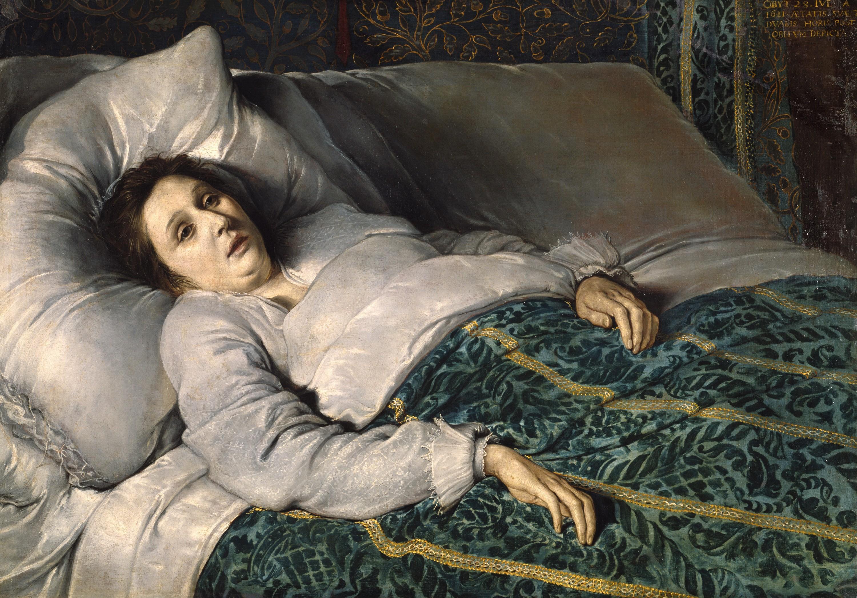 Anonyme, École flamande, Jeune femme sur son lit de mort, 1621
