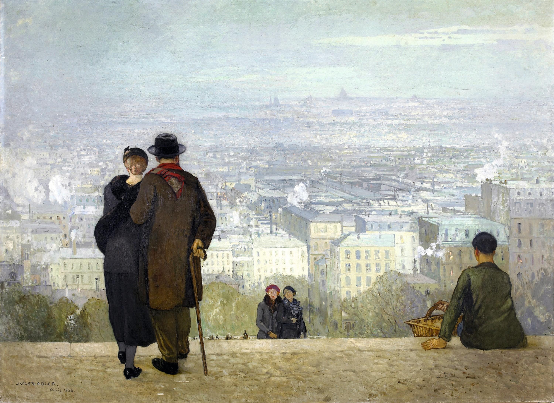 Jules Adler, Paris vu du Sacré-Cœur, huile sur toile, 1936, 200 × 275 cm, musée des Beaux-Arts de Dole.