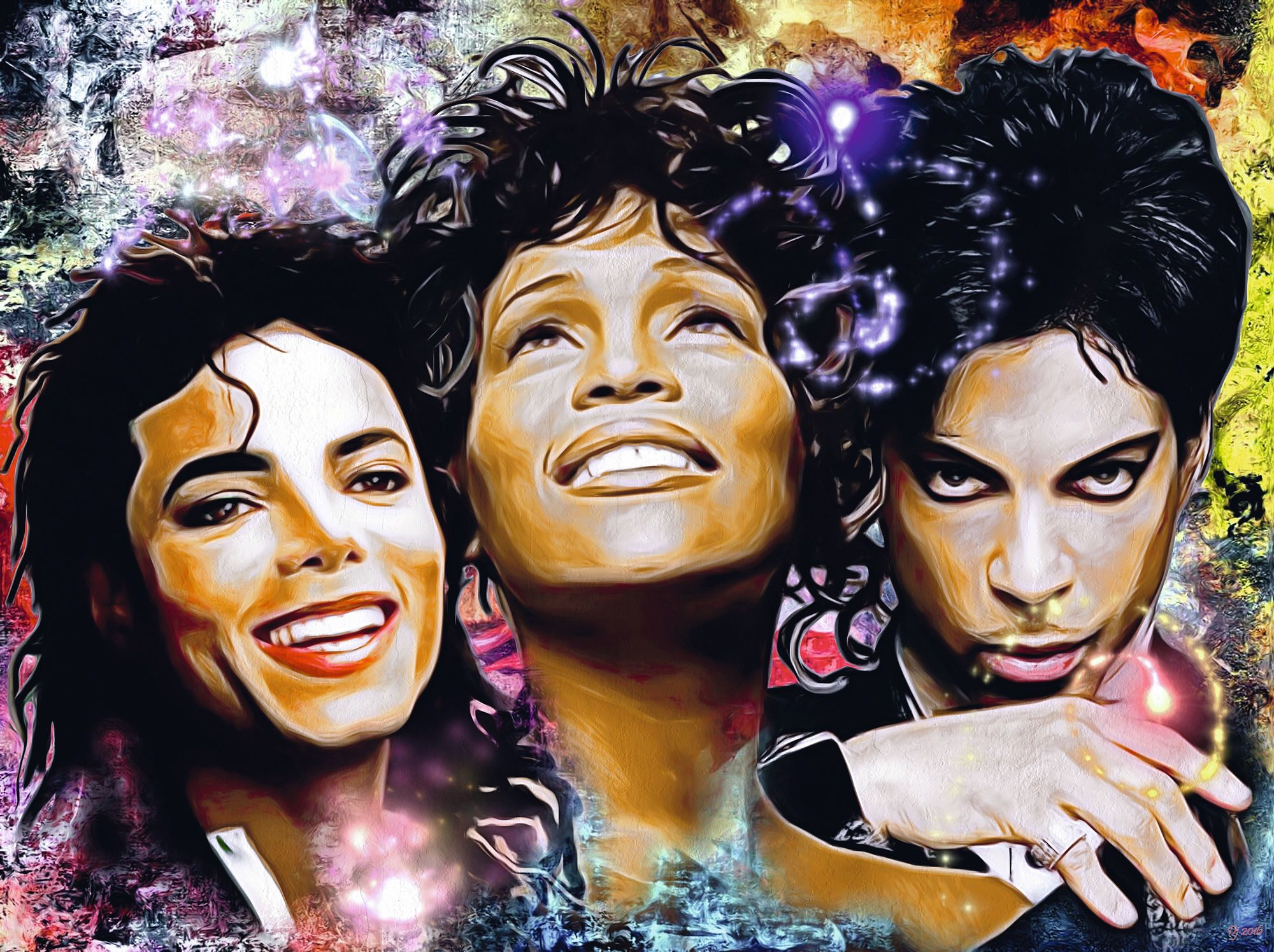 The King, the Queen and the Prince (Michael Jackson , Whitney Houston and Prince), by Daniel Janda, 2018.