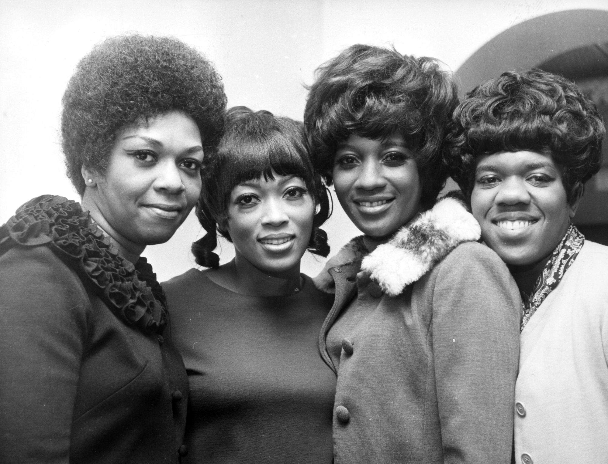 The Sweet Inspirations band (from left to right): Cissy Houston (Whitney Houston's mother),  Myrna Smith, Sylvia Shemwell and Estelle Brown, 1968.
