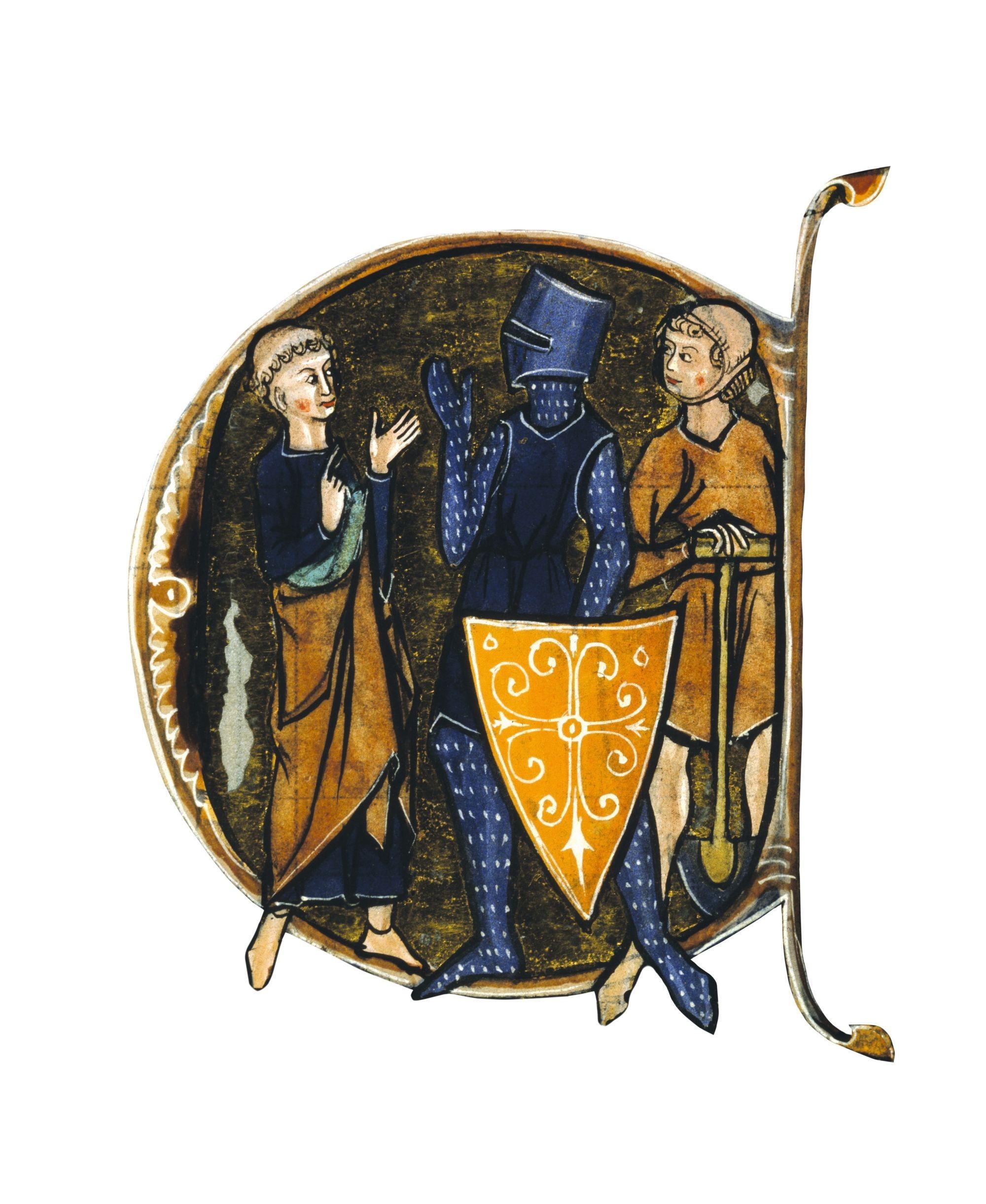 Clerc, chevalier et paysan, minuscule historiée dans un manuscrit du Régime du corps d'Aldebrandin de Sienne, 1275, British Library, Londres
