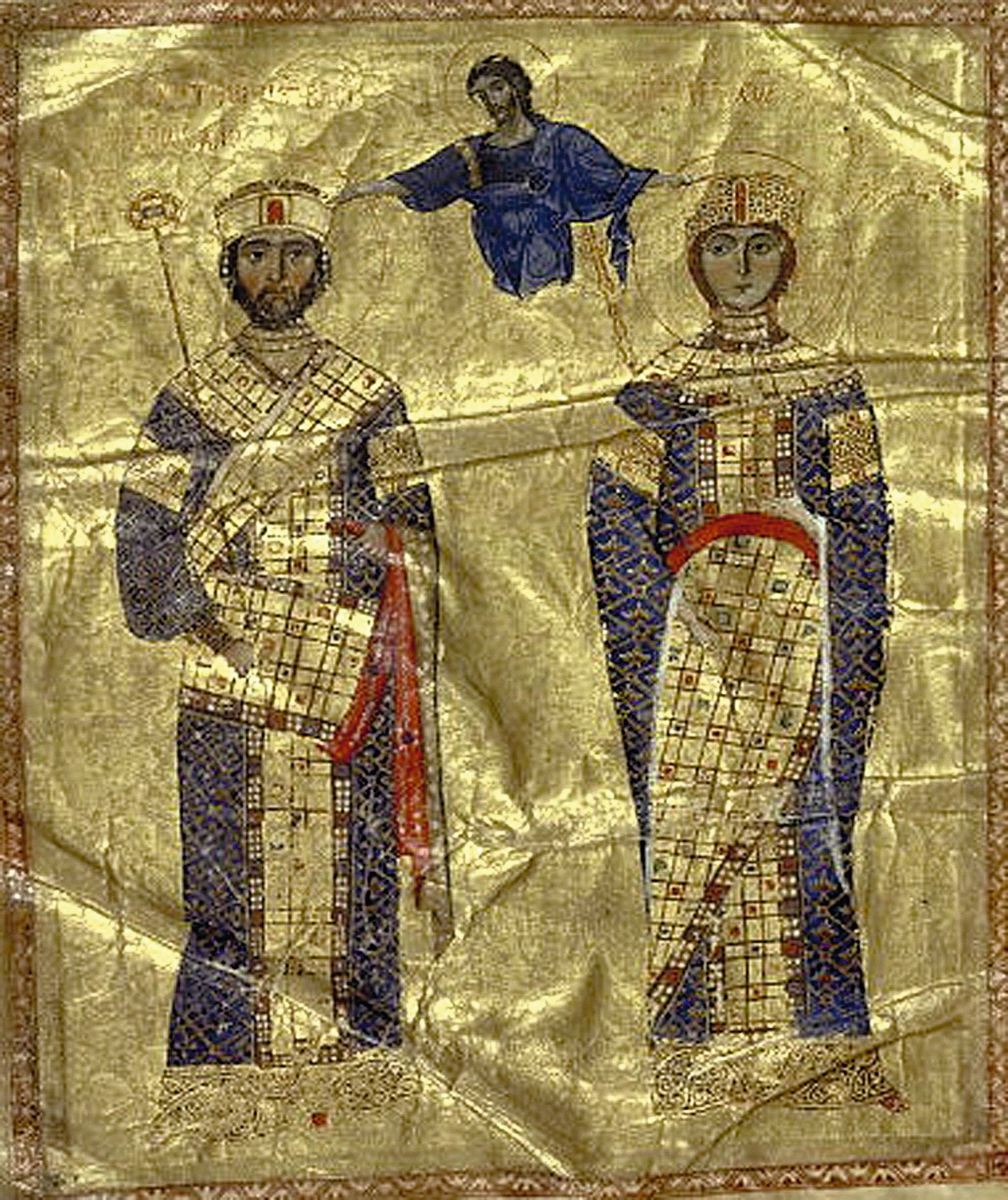 Dieu couronne l'empereur Nicéphore III et Marie d'Alanie, enluminure d'un manuscrit des Homélies de Jean Chrysostome, 1079, BnF, Paris