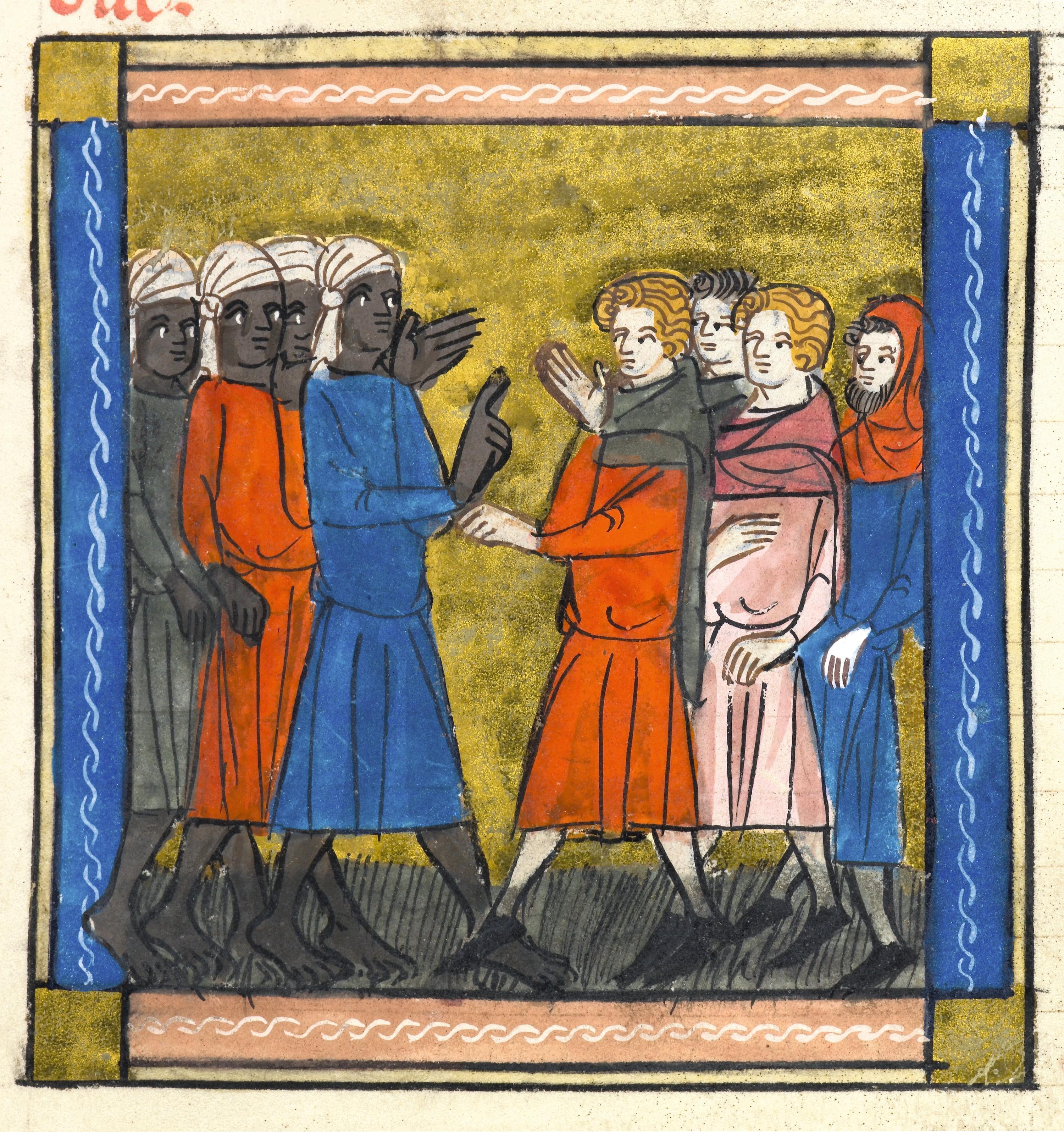 Sarrasins et chrétiens, enluminure dans un manuscrit du Roman d'Alexandre, v. 1340, British Library, Londres