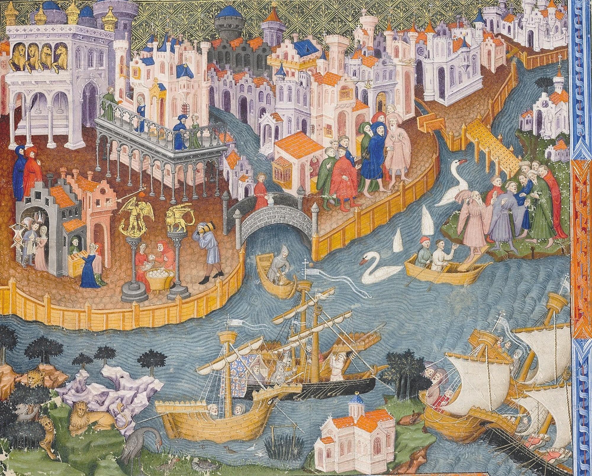 Marco Polo quittant Venise, enluminure dans un manuscrit du Devisement du monde de Marco Polo, 1338-1344, Bodleian Library, Oxford