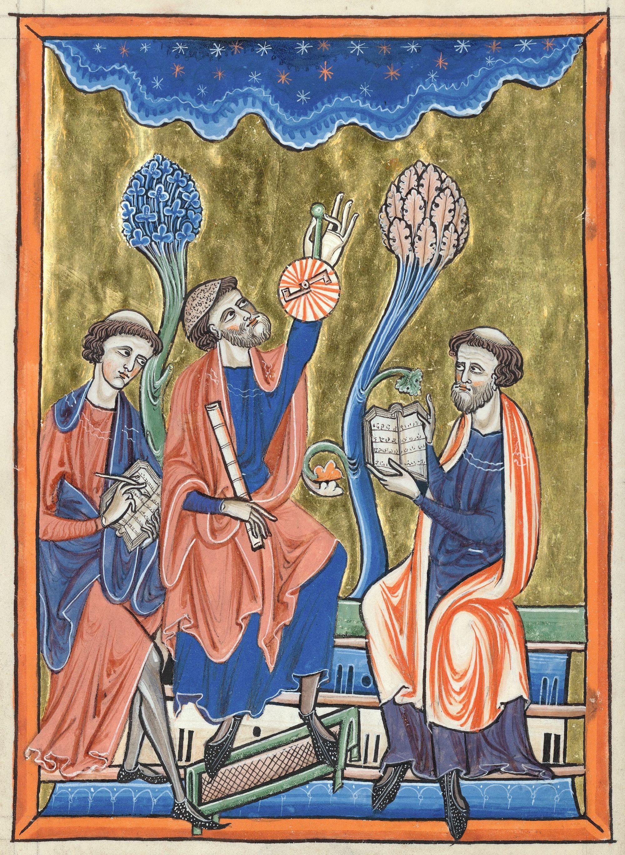 « Abraham Ibn Ezra enseigne l'astronomie à des clercs latins », enluminure, 1225-1235, 19,2 x 13,7 cm, Psautier dit de Blanche de Castille, bibliothèque de l'Arsenal, Paris, ms. 1186, f. 1v.