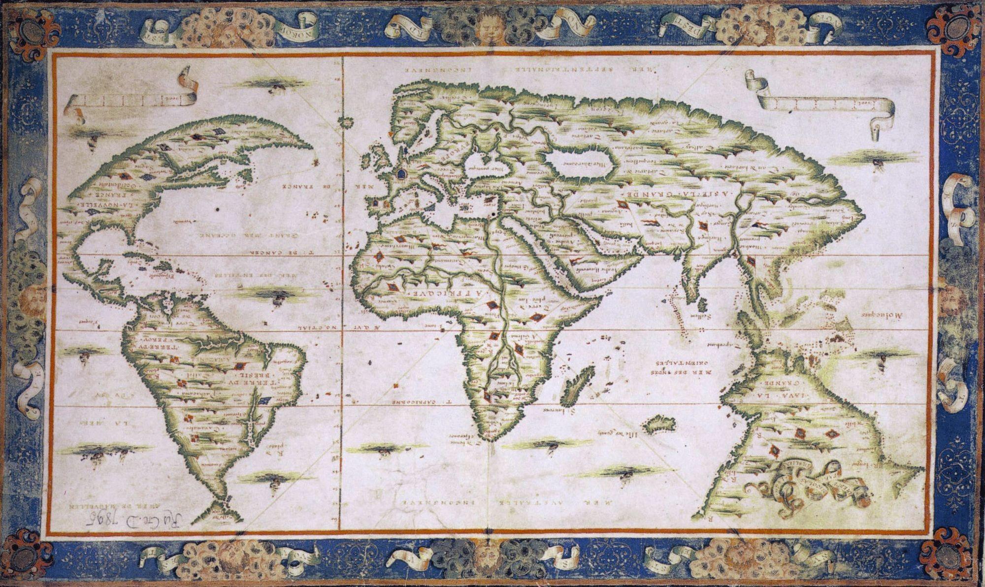 Nicolas Desliens, carte du monde, 1566