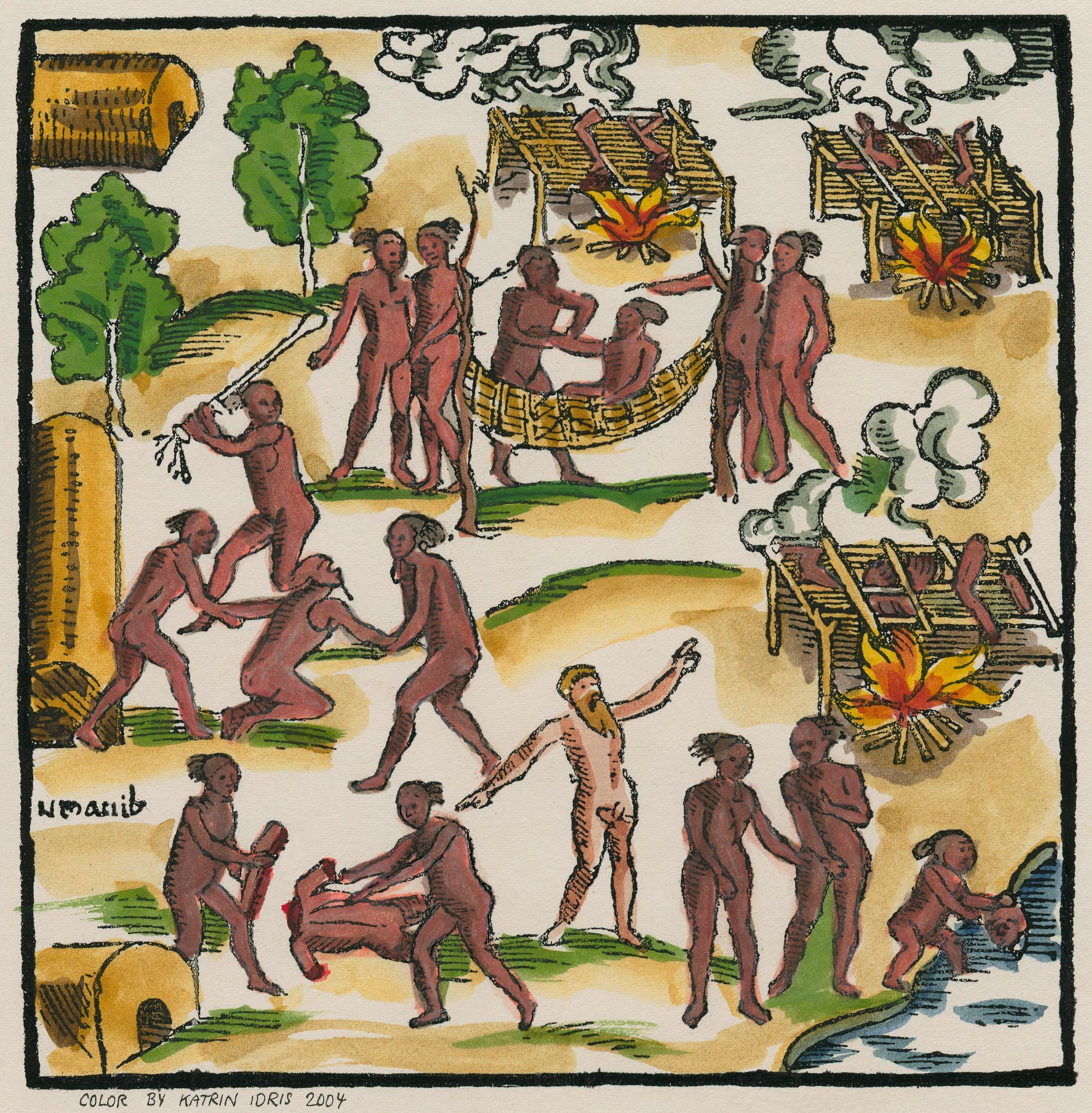 Cannibales au travail, gravure sur bois (coloriée plus tard) illustrant Hans Staden, Histoire vraie d'un pays de sauvages, 1556
