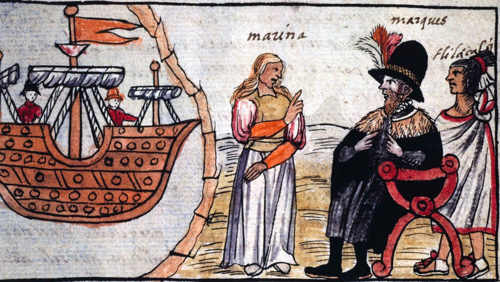 La Malinche (Marina) traduit à Cortès ce que lui dit l'émissaire de Moctezuma, Codex Duràn, 1581, gravure, 55,9 x 31,5 cm, Biblioteca National, Madrid
