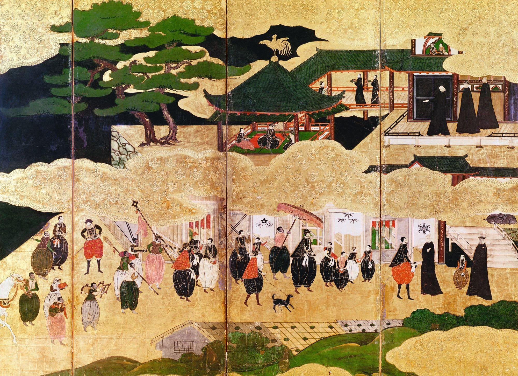 École de Kano, L'Arrivée des Portugais au Japon, XVIe siècle, paravent peint (détail), musée Guimet, Paris