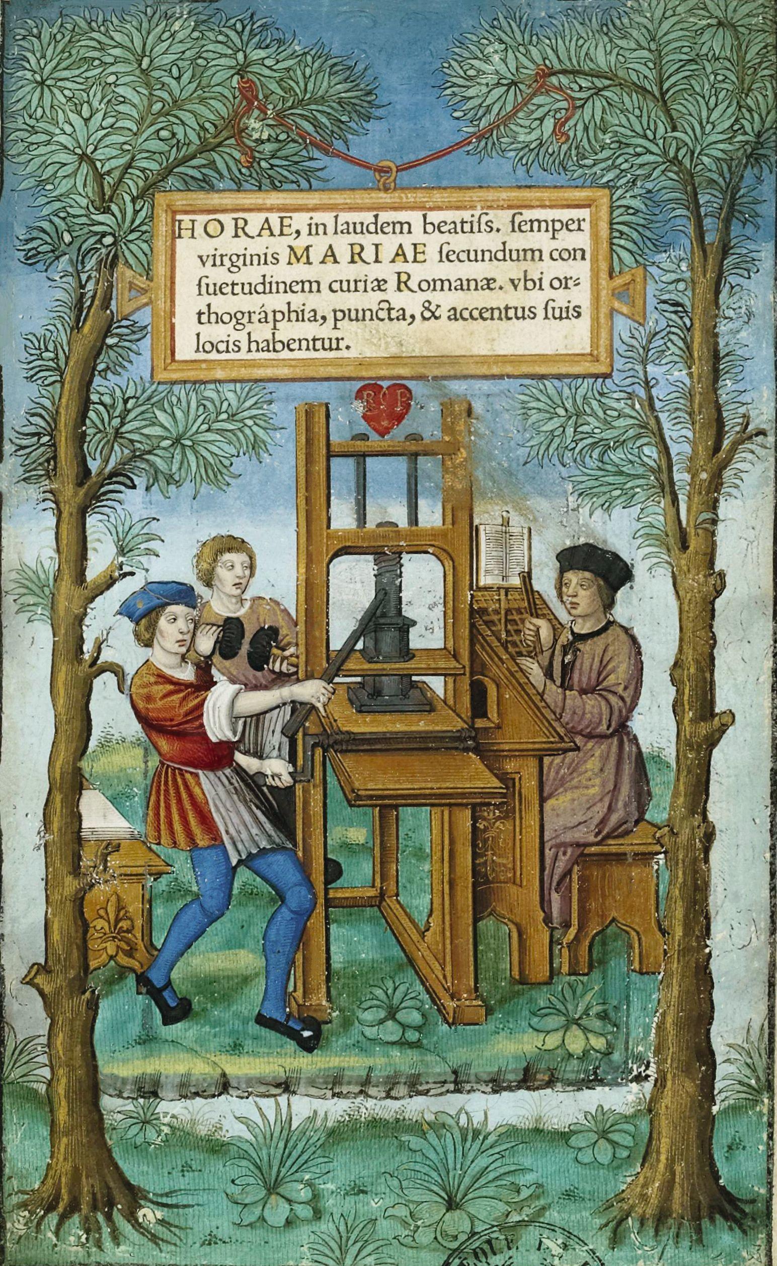 Étienne Collault, Un atelier d'imprimerie, enluminure d'une impression des Heures à l'usage de Rome, 1525, bibliothèque de l'Arsenal, Paris