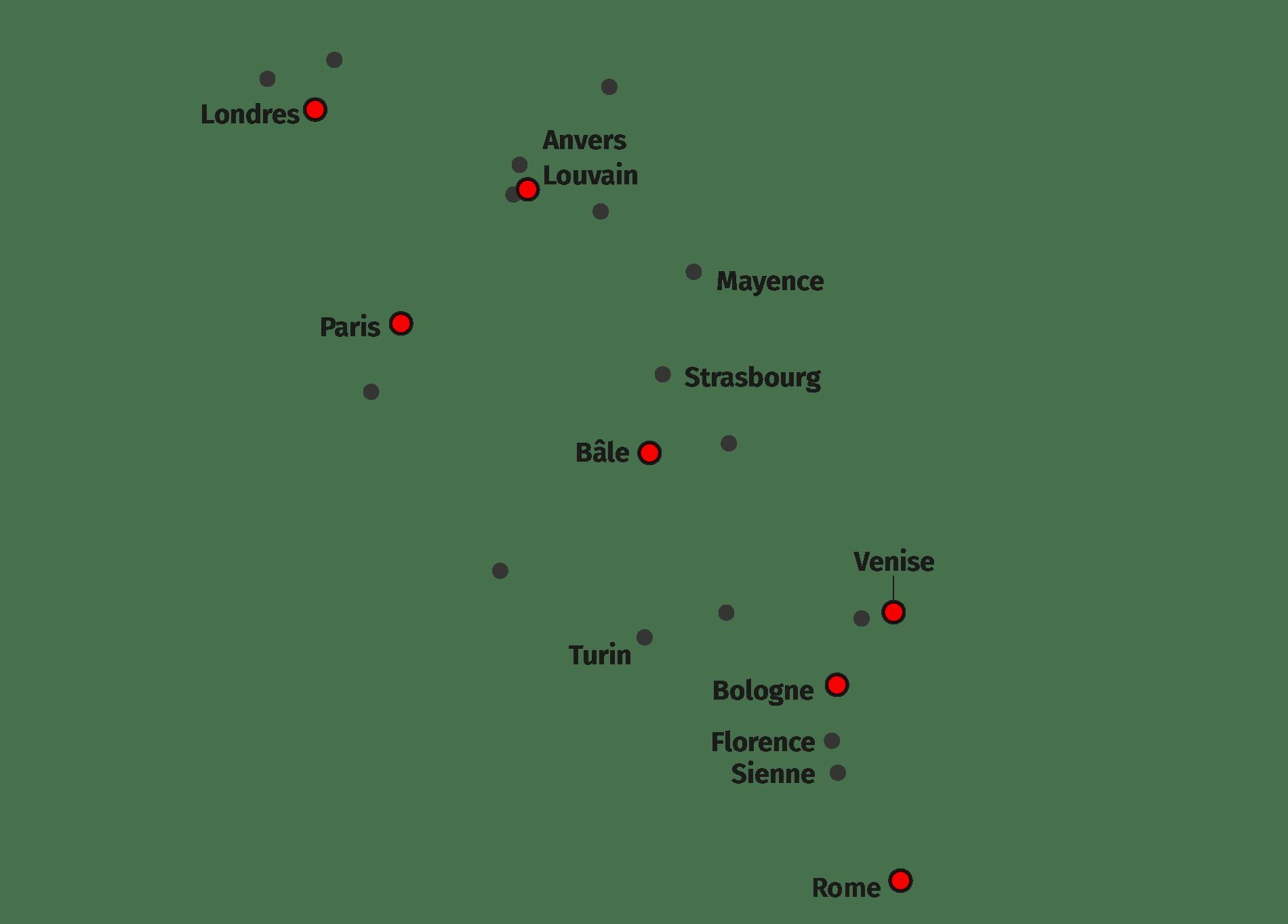 Lieux de séjour d'Érasme (texte)