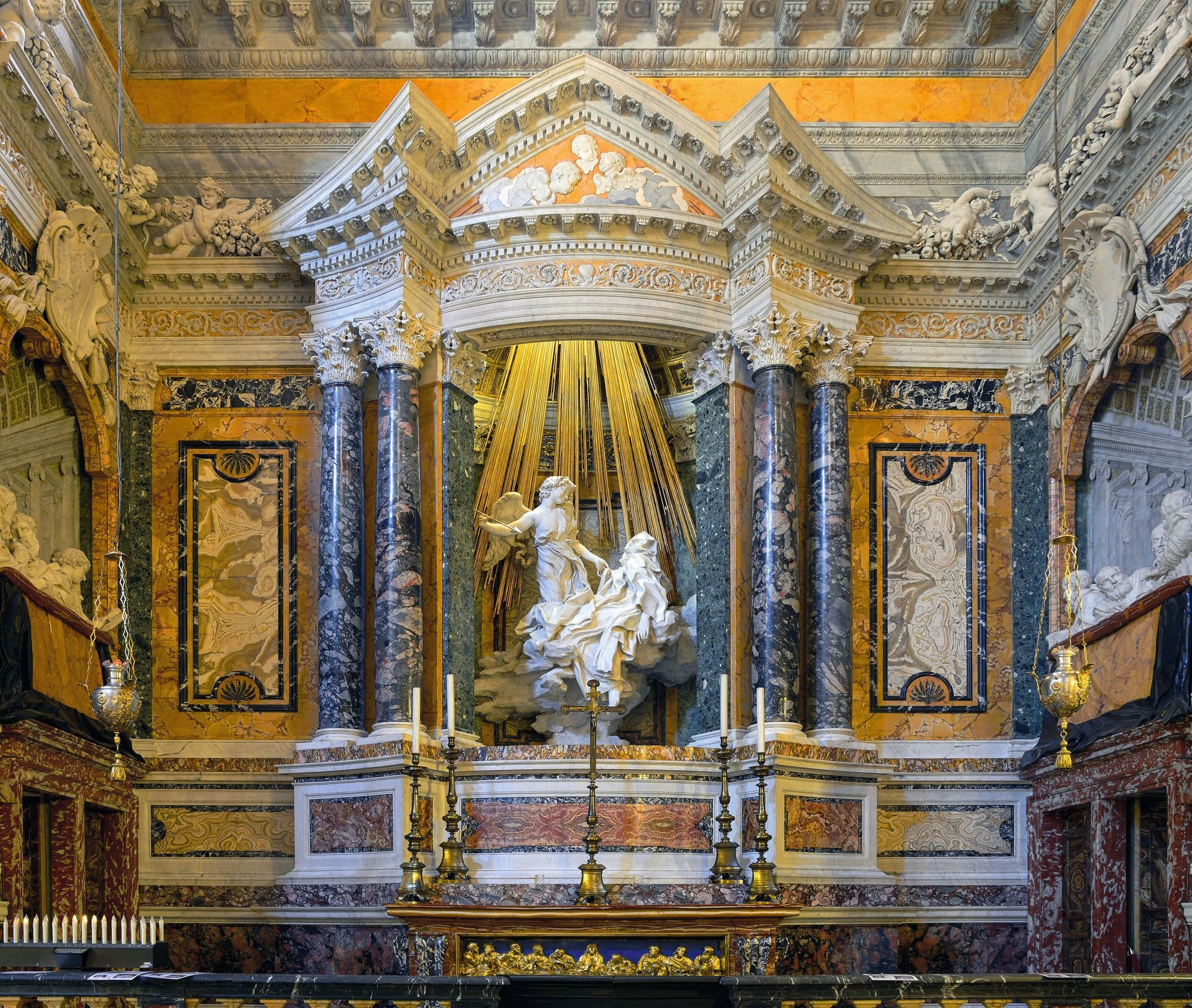 Le Bernin, sculpture en marbre, 1652, chapelle Cornaro de l'église baroque Santa Maria della Vittoria, Rome