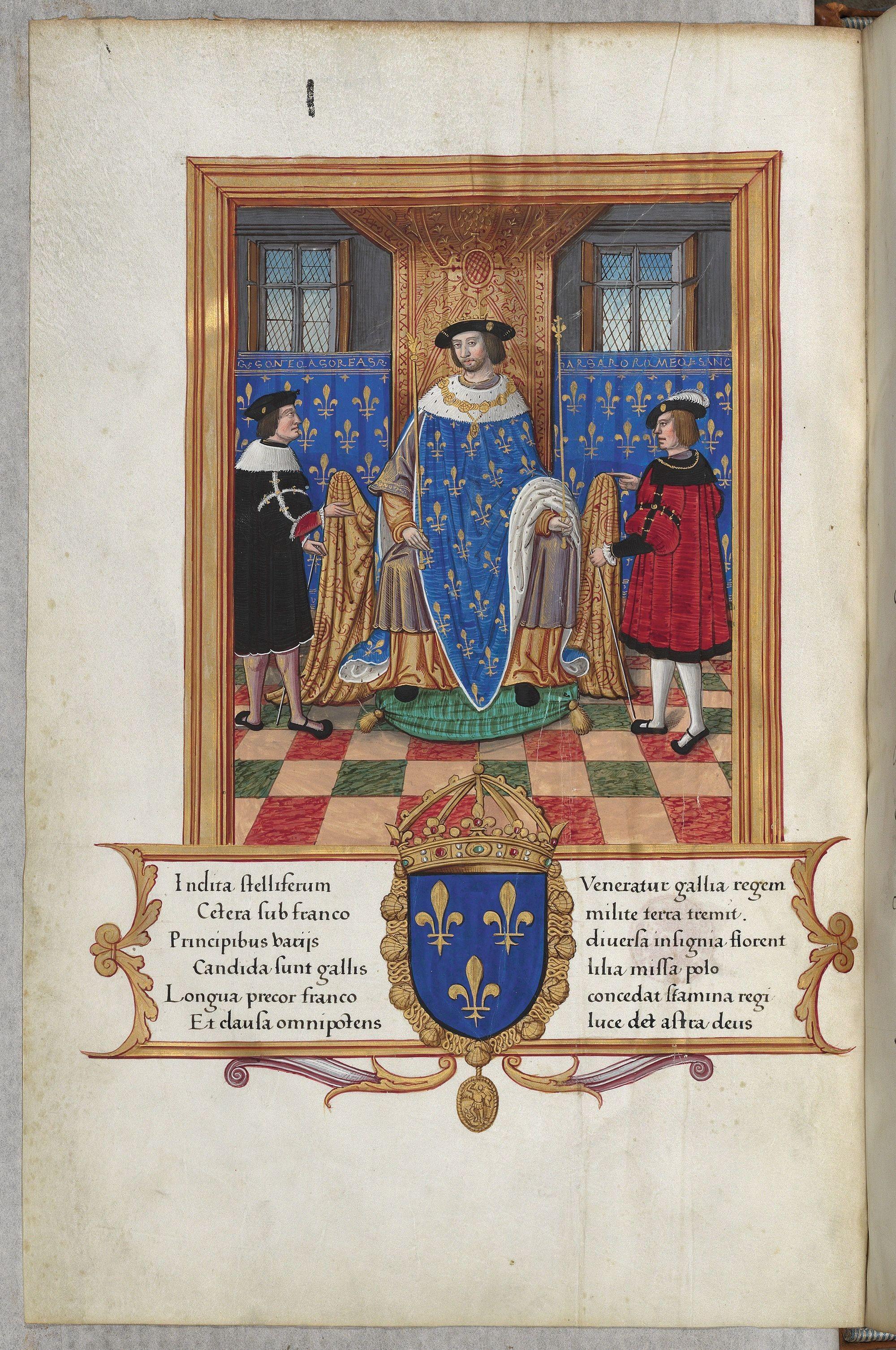 Atelier d'Étienne Collault, François Ier sur son trône, v. 1520, enluminure