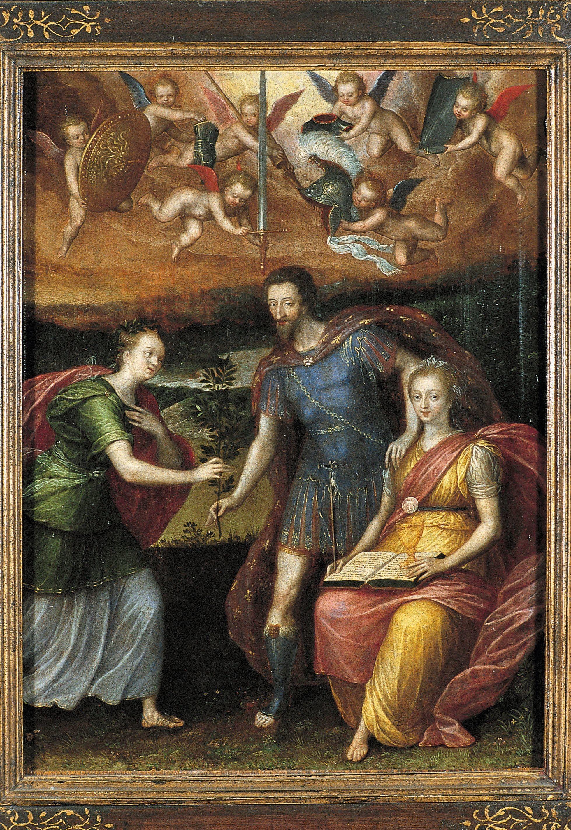 Anonyme, Henri IV s'appuyant sur la religion pour donner la paix à la France, fin XVIe siècle, huile sur toile, 33 x 25,5 cm, musée national du château de Pau