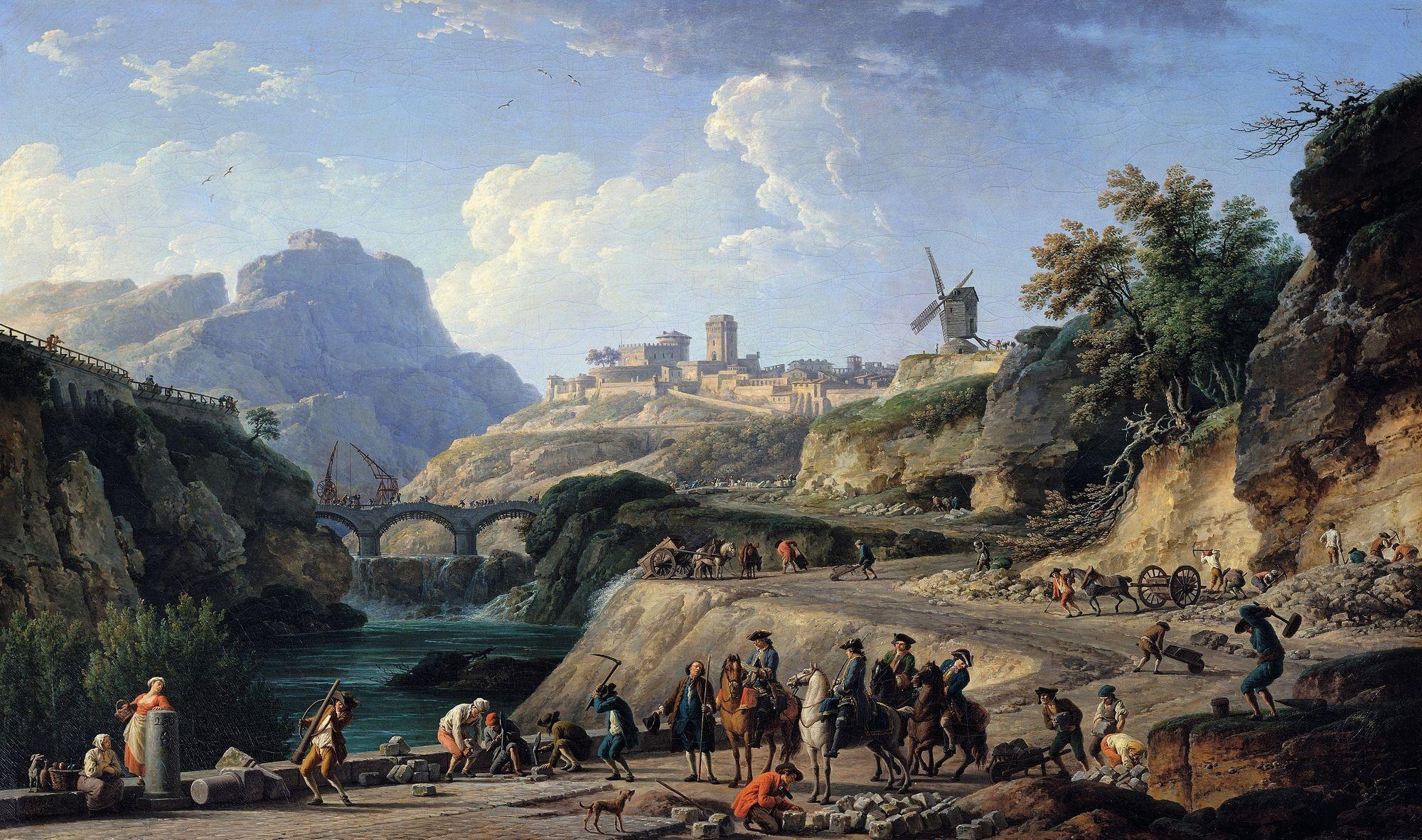 Joseph Vernet, La Construction d'un grand chemin, 1775, huile sur toile, 97 x 162 cm, musée du Louvre, Paris