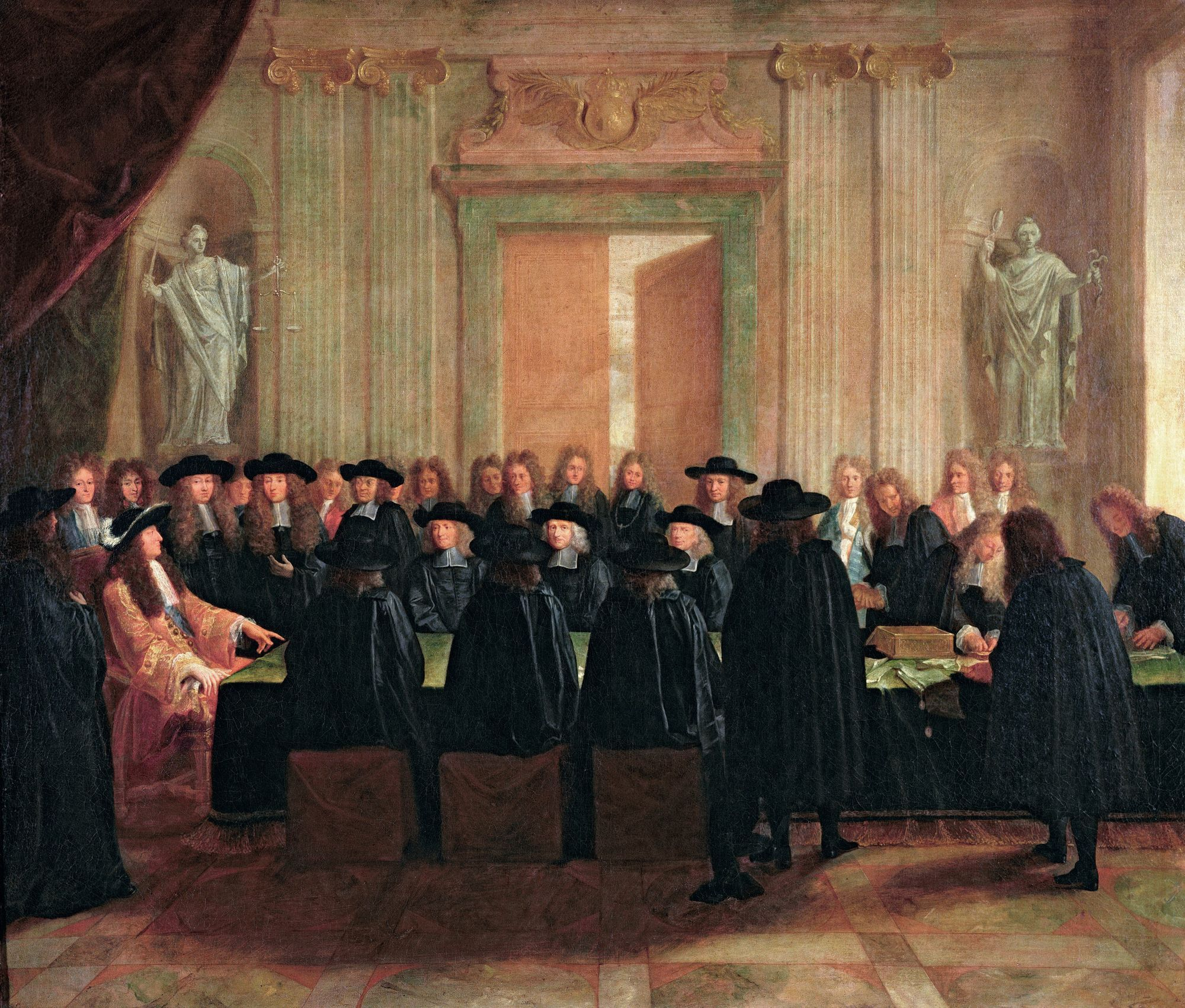 Anonyme, Louis XIV tenant les sceaux en présence des conseillers d'État et des maîtres des requêtes, XVIIe siècle, huile sur toile, 110 x 128 cm, château de Versailles