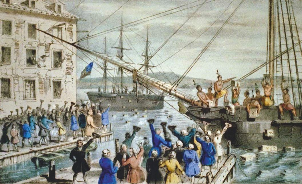 Boston Tea Party, gravure, v. 1845