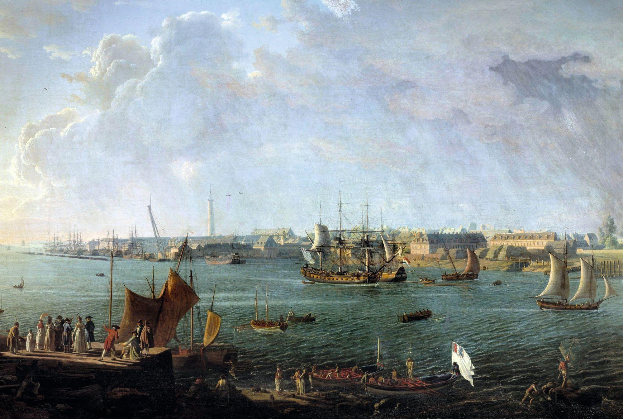 Jean-François Hue, Vue du port de Lorient, 1792, huile sur toile (détail), 117 x 176 cm, musée du Louvre, Paris