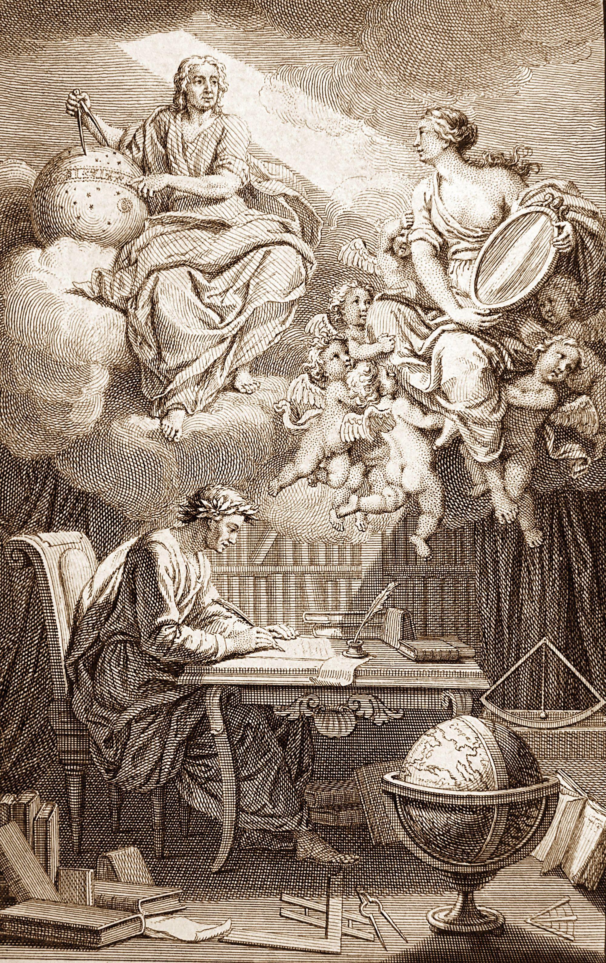Frontispice de l'ouvrage de Voltaire, Éléments de la philosophie de Newton, 1738, gravure, BnF, Paris