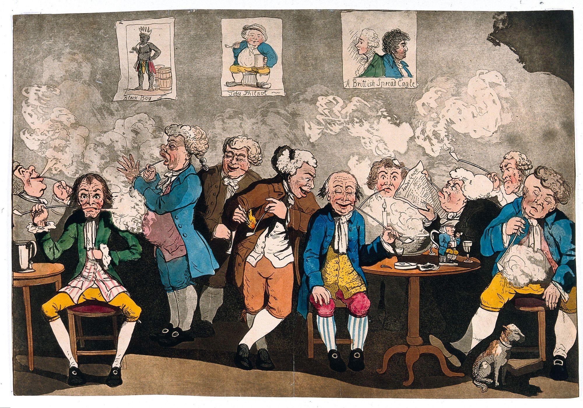 Anonyme, d'après G. M. Woodward, Un club de gentlemen anglais fumant et lisant les journaux, v. 1784, gravure à l'eauforte colorée