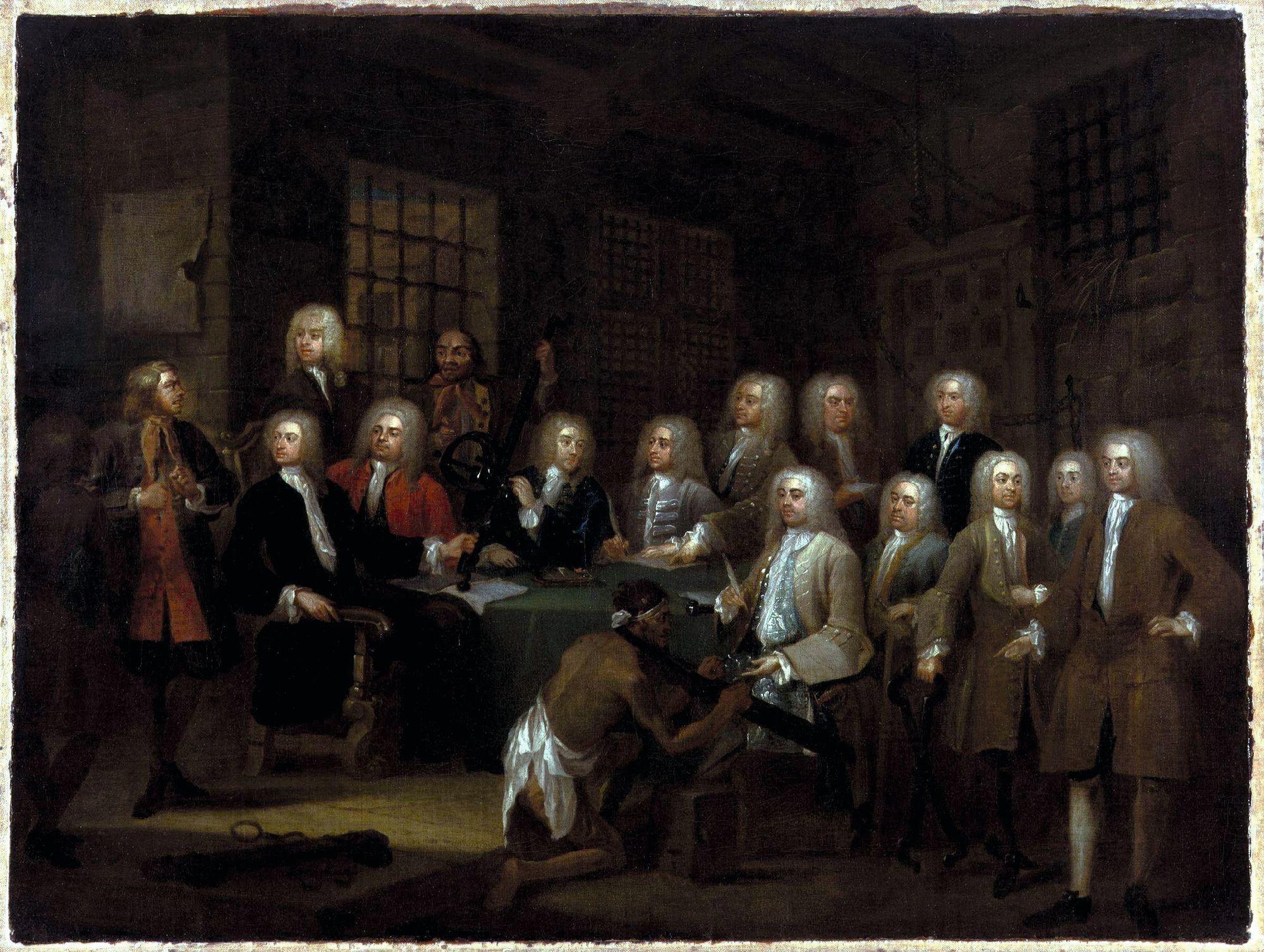 William Hogarth, Le Comité prison de la Chambre des Communes, v. 1729, huile sur toile, 51,9 x 68,8 cm, National Portrait Gallery, Londres