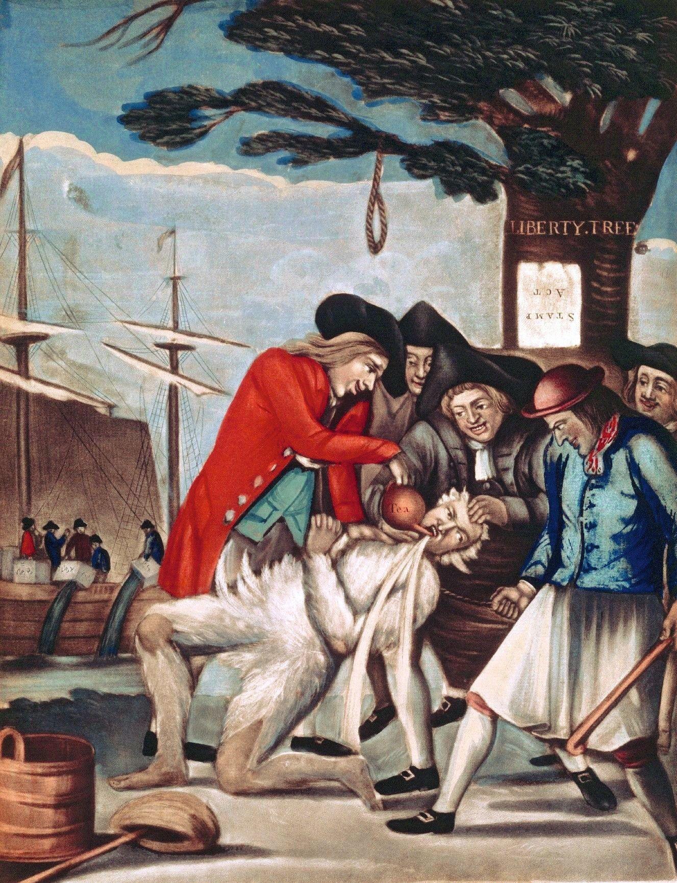 Philip Dawe, Les gens de Boston couvrent le percepteur de plumes et de goudron, 1774, mezzotinto, 35 x 24 cm, John Carter Brown Library, Providence