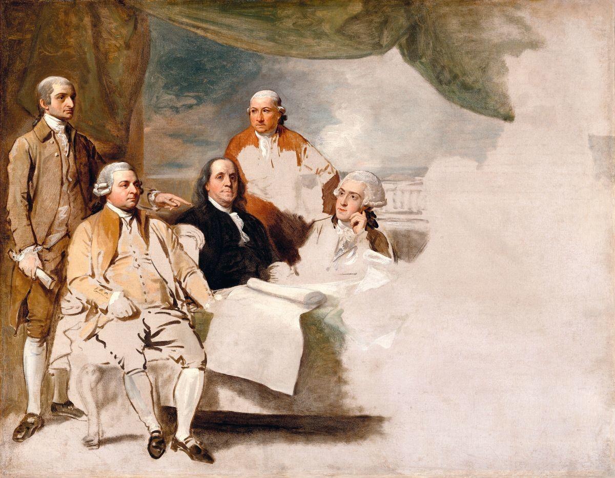 Benjamin West, La signature du traité de Paris, 1783, huile sur toile, 72 x 92 cm, Winterthur Museum, Winterthur