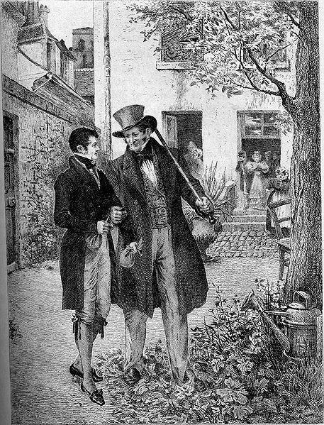 Rastignac et Vautrin dans la cour de la pension Vauquer (illustration pour Le Père Goriot).