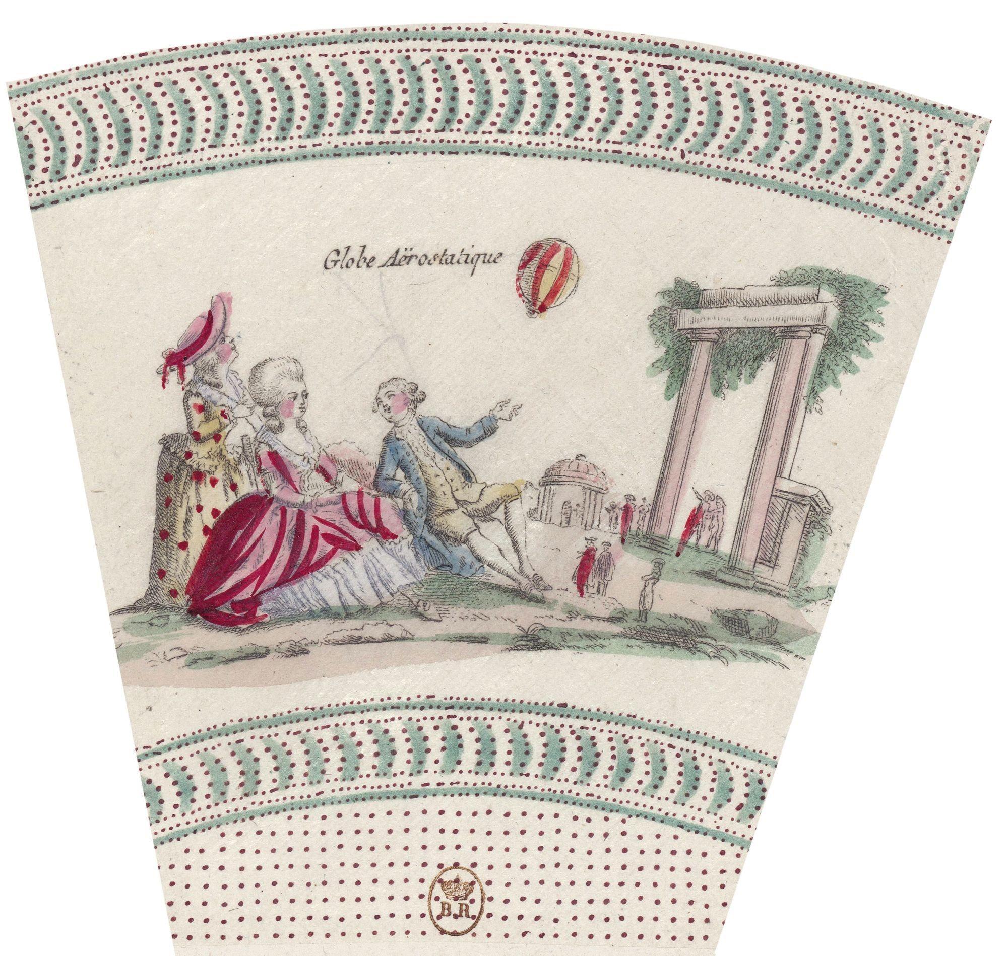 Fragment d'éventail, estampe, 1783.