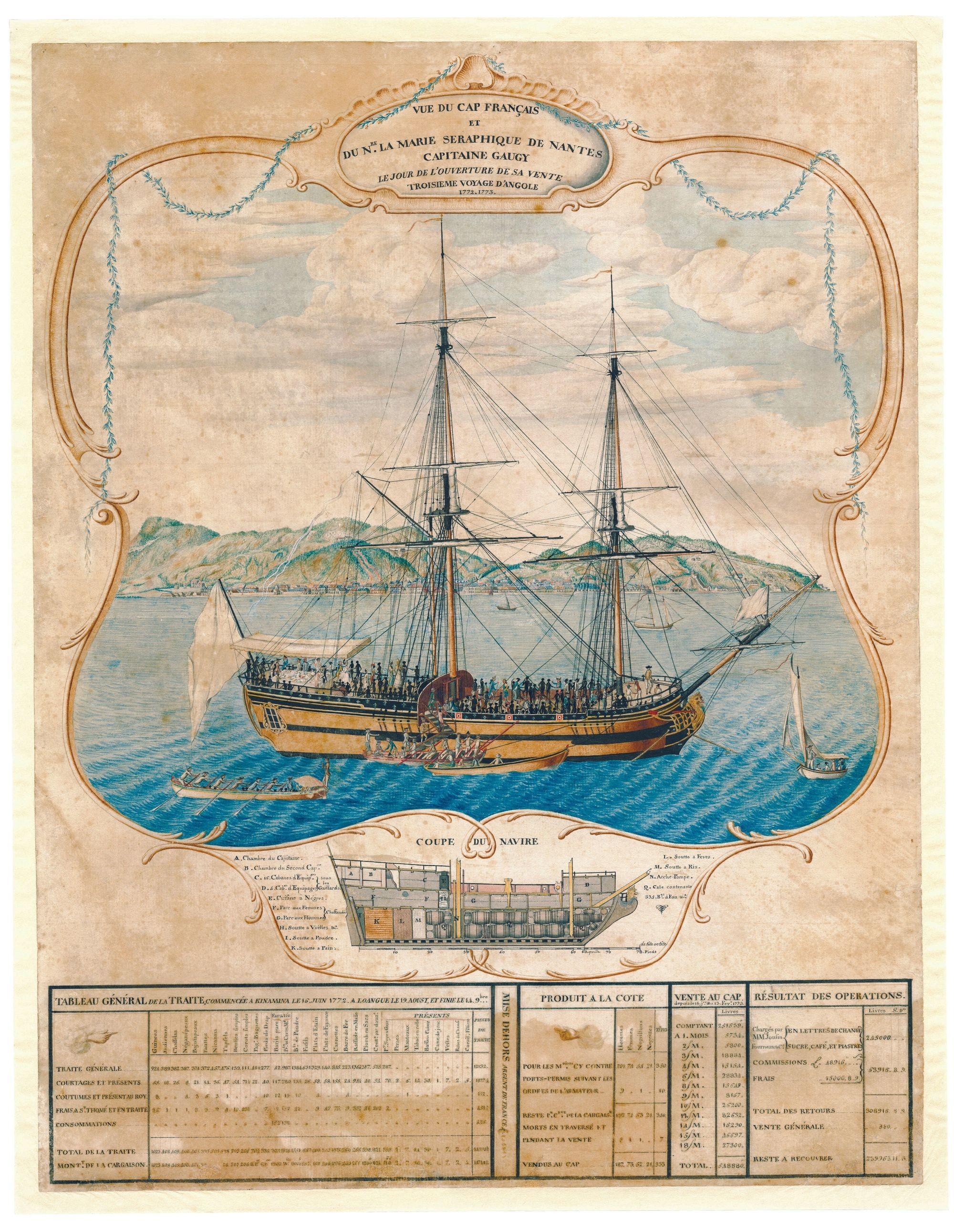 René Lhermitte, Plan du navire Marie-Séraphique de Nantes, vers 1770, aquarelle