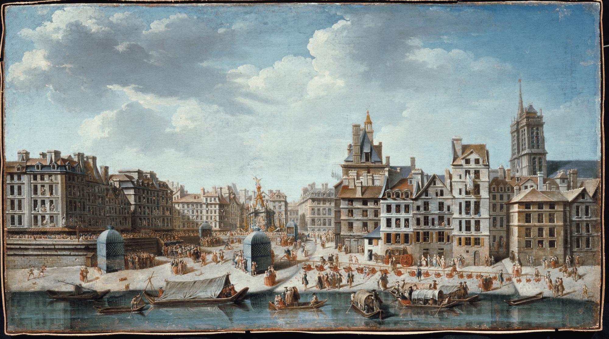 fNicolas-Jean-Baptiste Raguenet, Fête en l'honneur de la naissance de la princesse Marie-Thérèse, 1746, huile sur toile