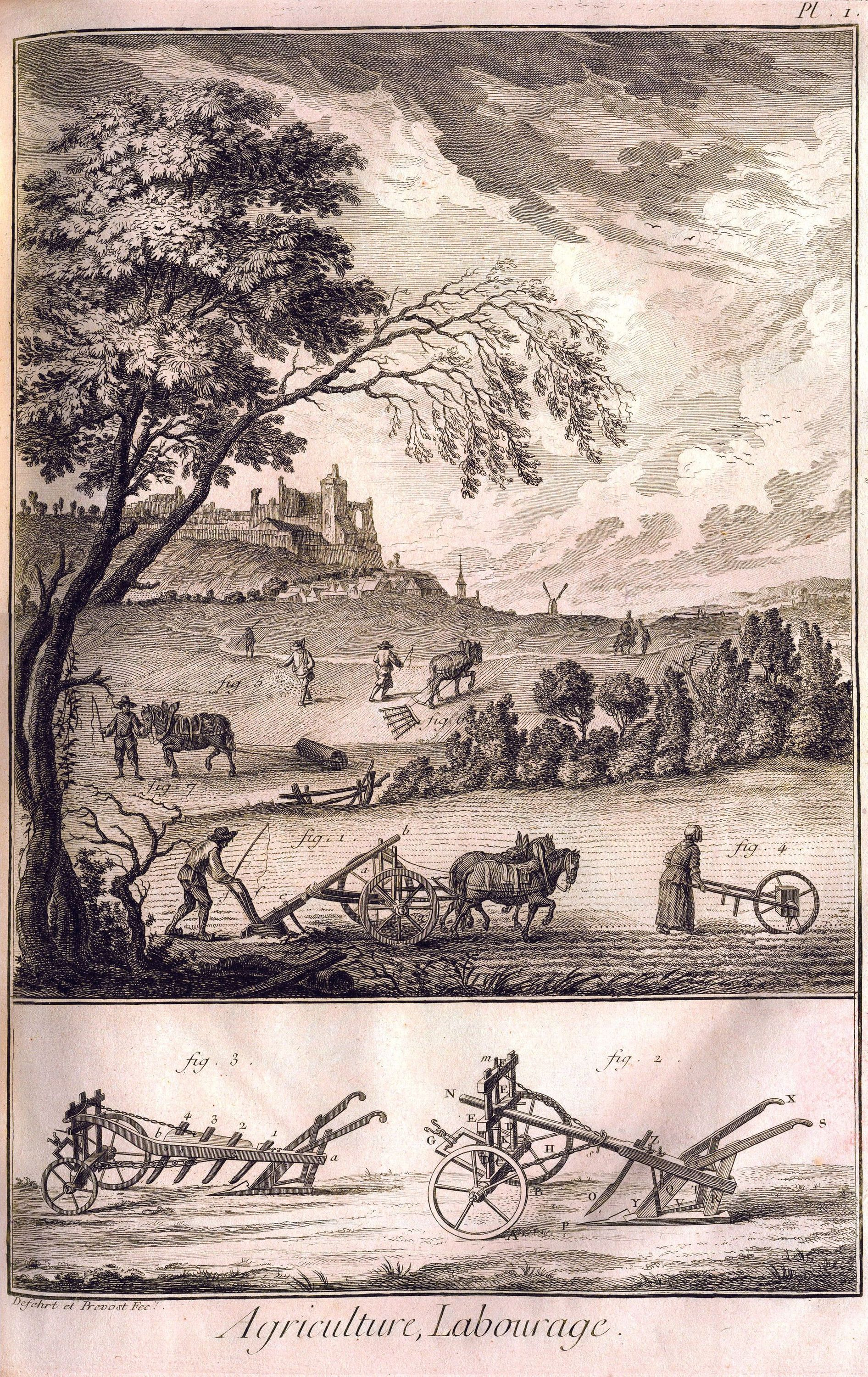 Gravure issue de l'Encyclopédie, 1770, planche agriculture, labourage