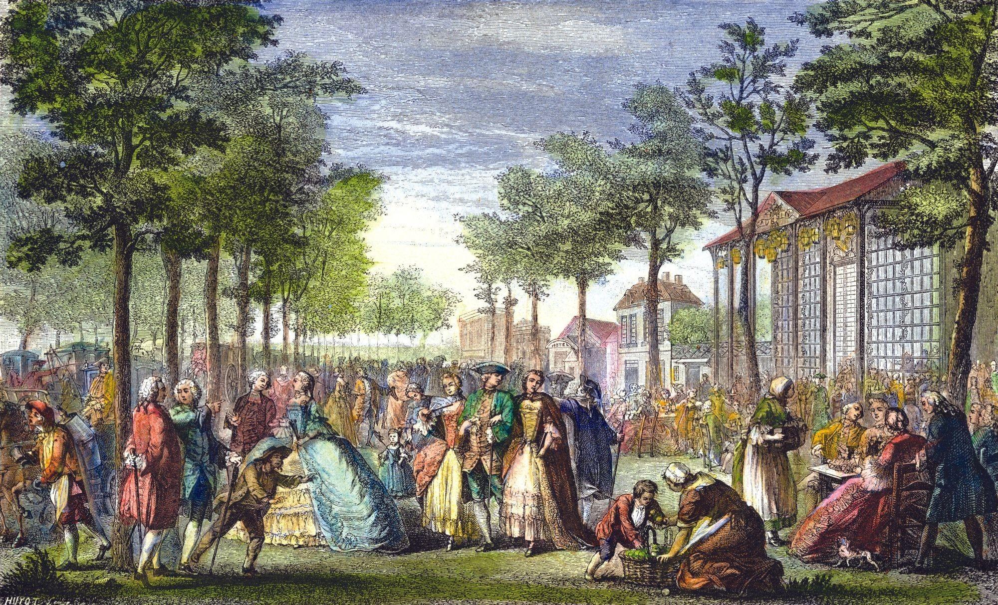 Augustin de Saint-Aubin, Promenade sur les remparts de Paris, vers 1760, estampe, 22 x 36 cm, BnF, Paris