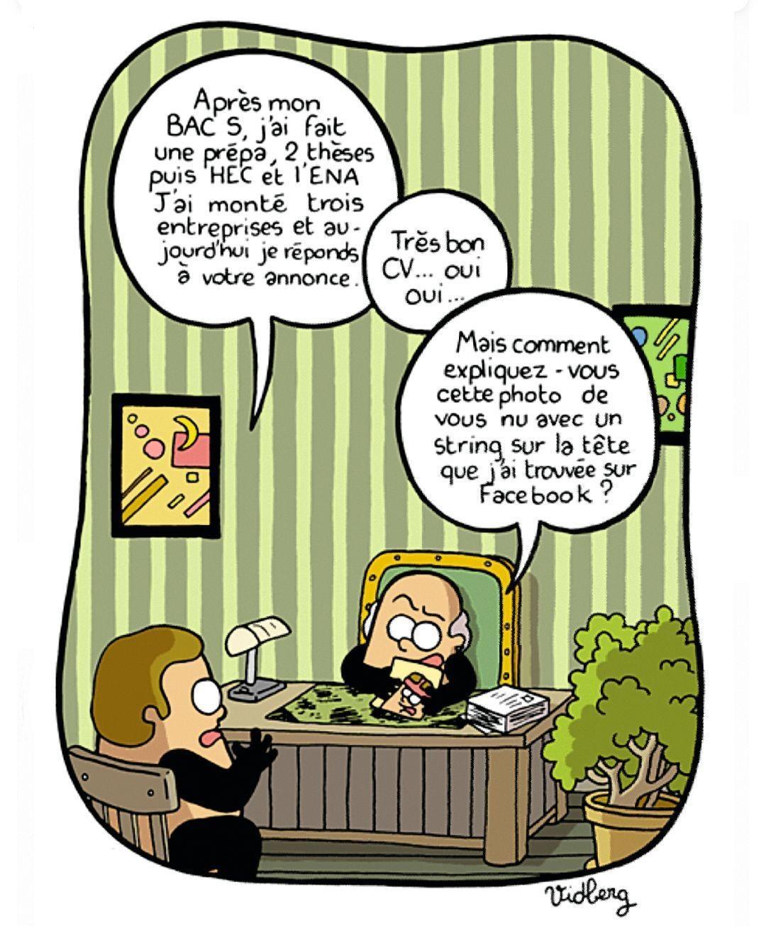 Martin Vidberg, « Faut-il s'inscrire sur Facebook ? », dessin sur LeMonde.fr, 20 février 2009.