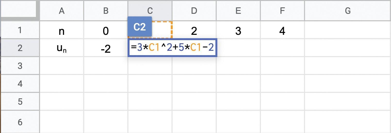 Tableur calculant les termes d'une suite