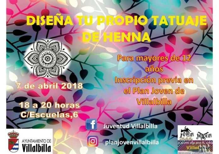 Cartel promocional de un concurso de tatuaje, Ayuntamiento de Villalbilla, Comunidad de Madrid, 2018.