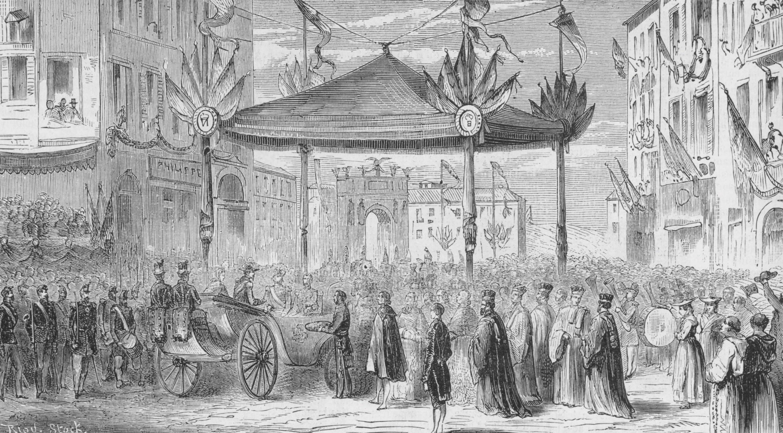 Nice et l'empereur, Gravure anonyme publiée dans Le Monde illustré