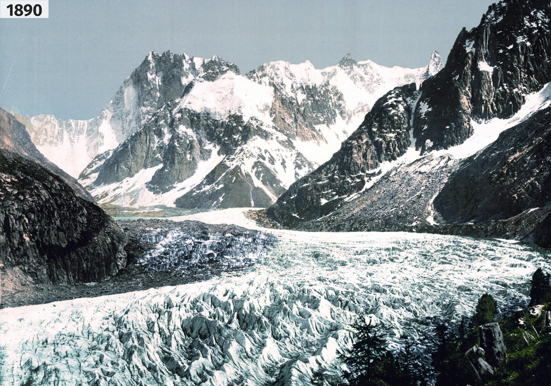 Évolution de la Mer de Glace (Haute-Savoie) en 1890