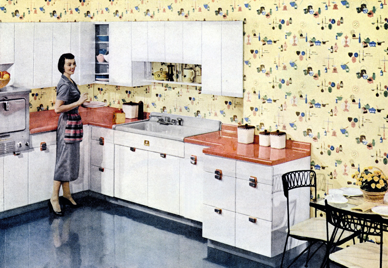 Publicité pour les cuisines American Standard et les revêtements muraux anti-salissures Glendura avril 1956