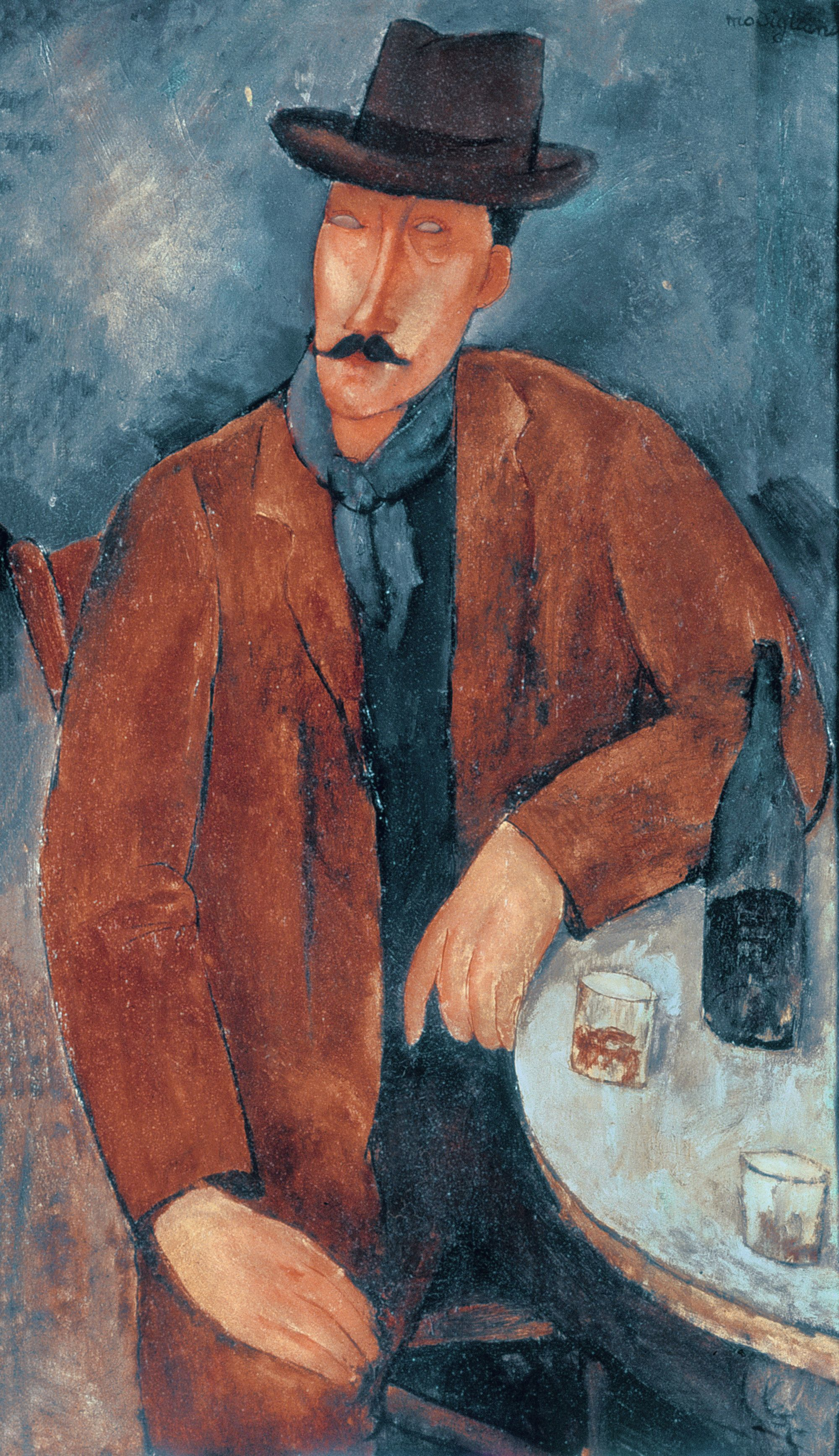 Amedeo Modigliani Homme avec un verre de vin