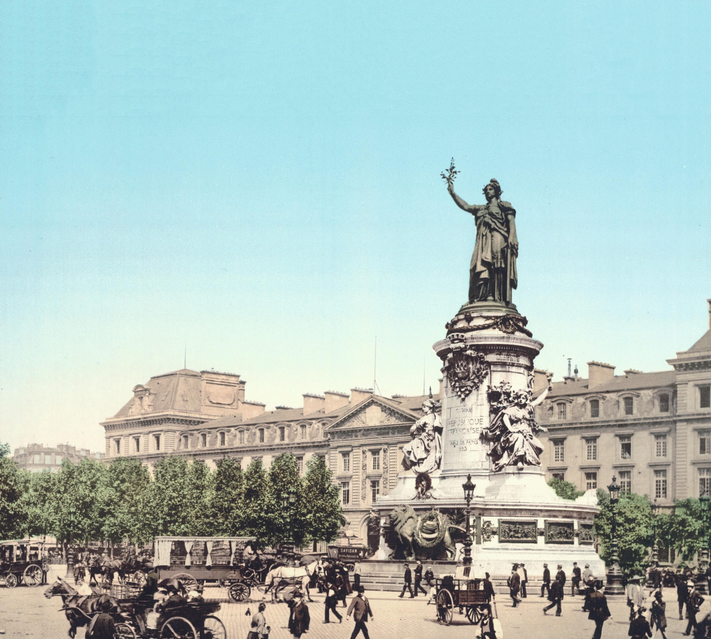 Place de la République, photochrome anonyme