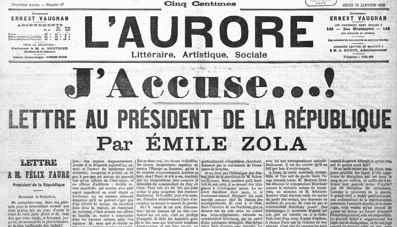 Une de L'Aurore, j'accuse de Zola