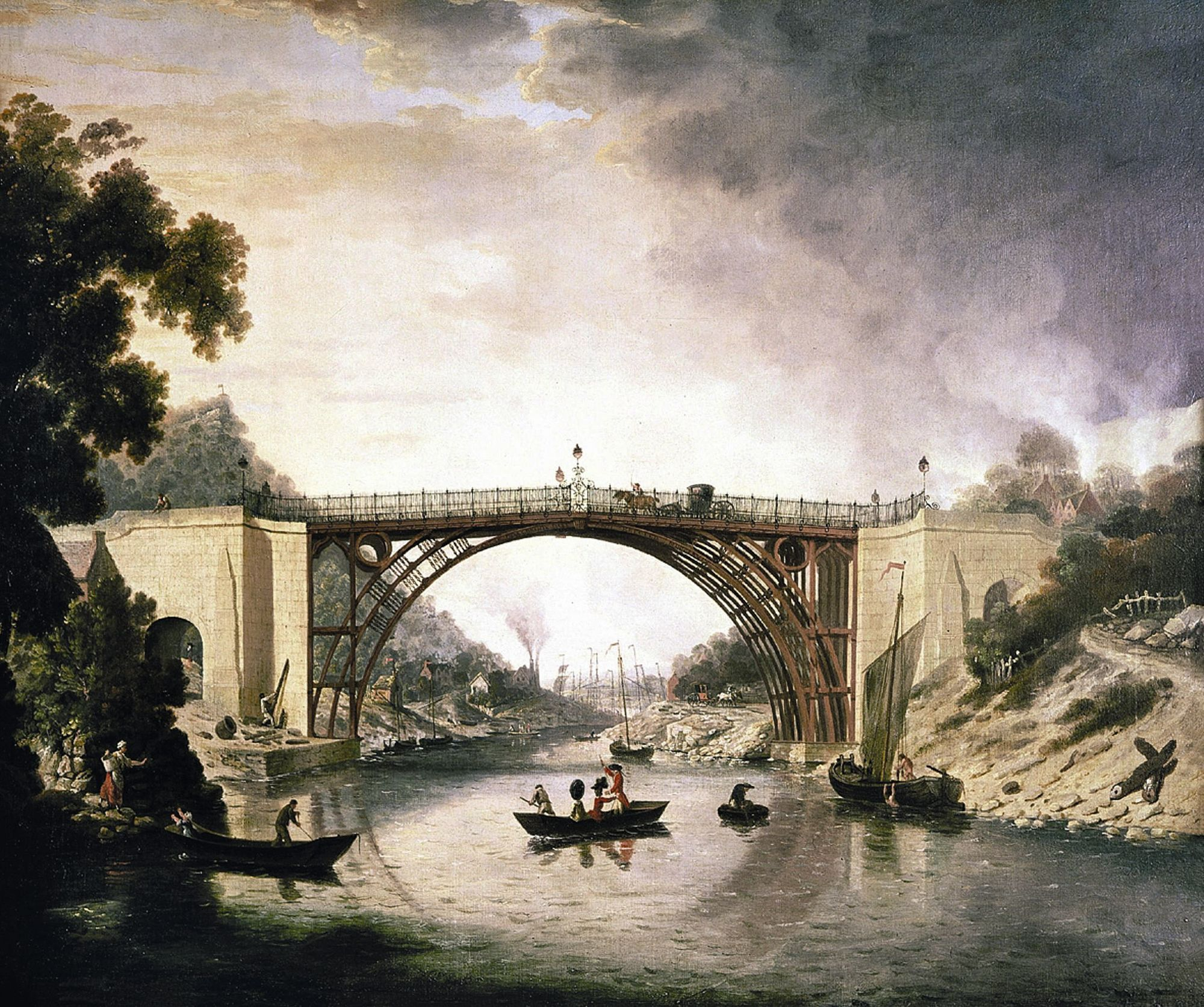 A View Of The Iron Bridge, William Williams, 1777.