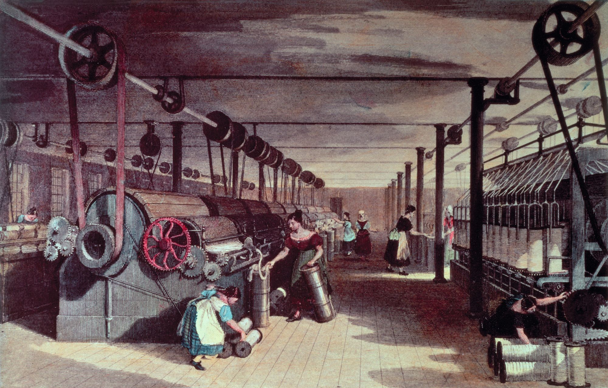 Interior of a mill, anonymous artist, 19th century.