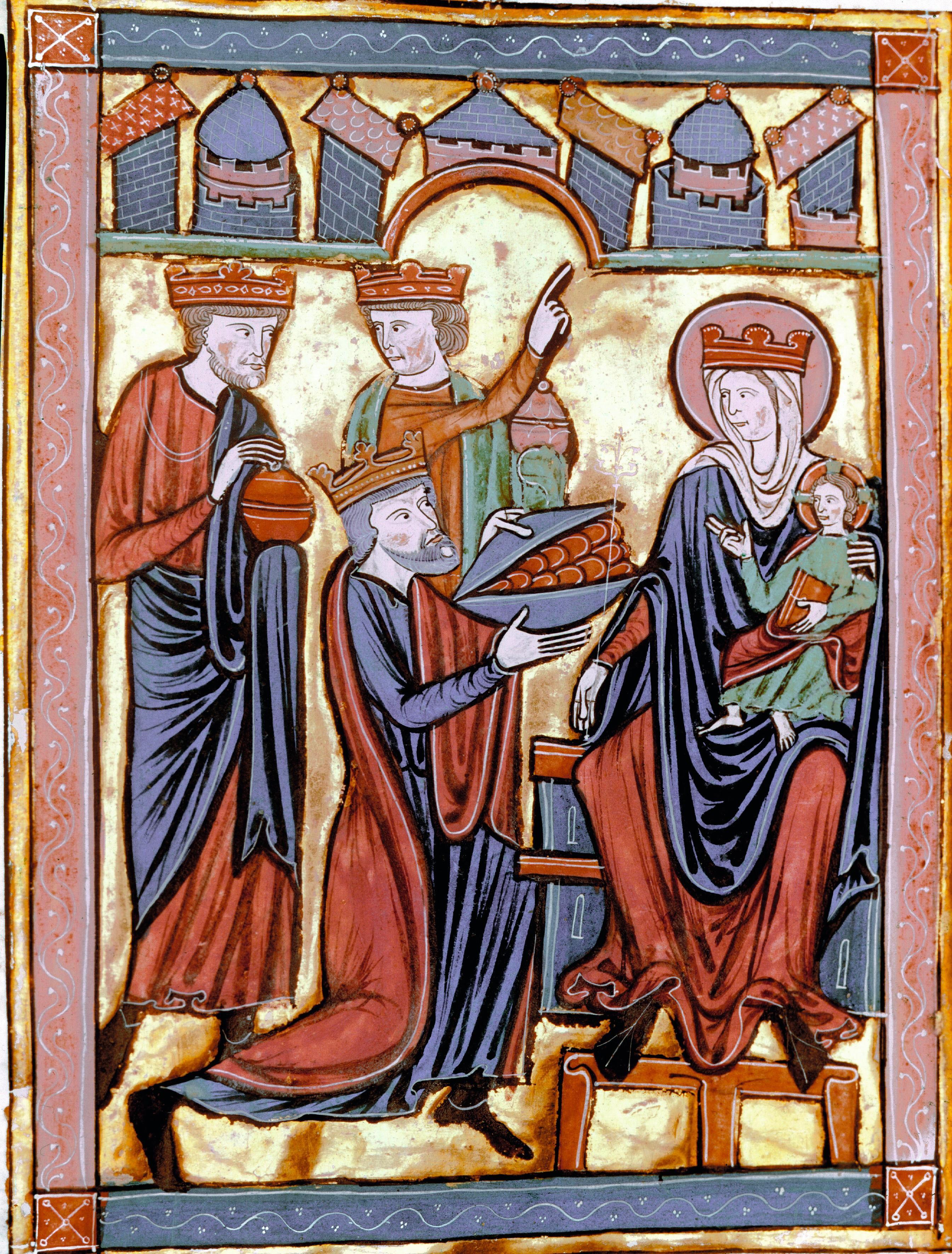 Adoration des mages, v. 1230, miniature
