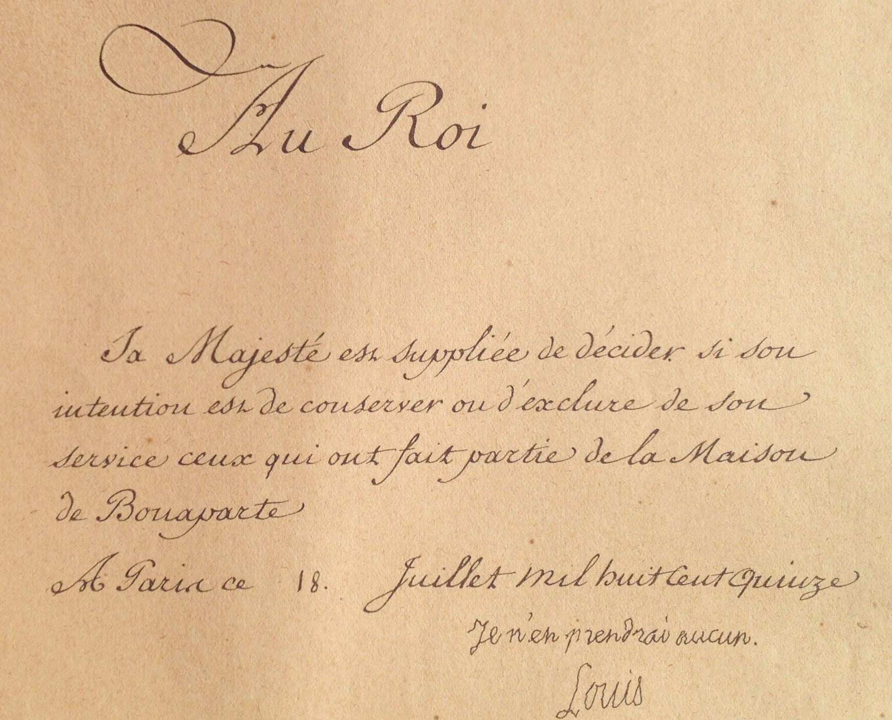 Louis XVIII refuse d'employer ceux qui ont servi Napoléon