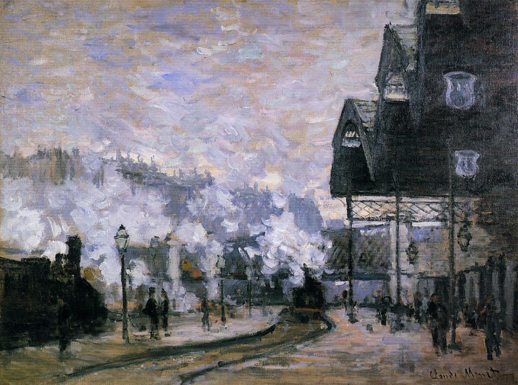 Claude Monet, Gare Saint-Lazare, vue extérieure, huile sur toile, 42 × 31,3 cm, Collection privée, Paris, 1877.